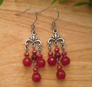 Dark red ruby jade small chandelier dangle earrings stainless image is loading dark red ruby jade small chandelier dangle earrings aloadofball Image collections