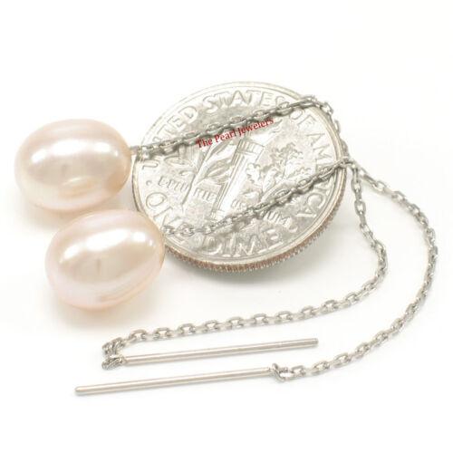 14k or Blanc enfile Chaîne; Natural Peach Cultured Pearl Pendants d/'oreilles TPJ