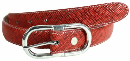 New Ladies Red Contrast Border Stitched 25mm Wide Genuine Leather Belts M-4XL