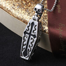 Unique Stainless Gothic Openable Cross Coffin Skeleton Pendant Chain Necklace