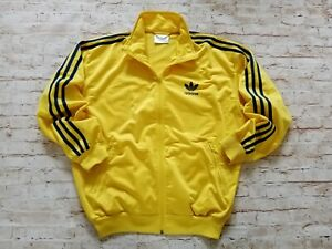 Men's RARE VTG 90s Adidas Originals Retro Full Zip Satin Track Jacket Yellow S/M
