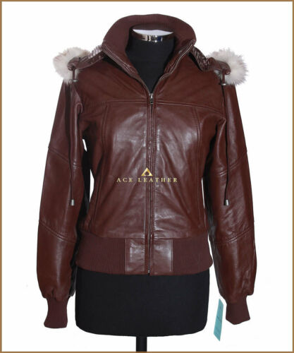 Fur Ladies Real Matilda Lambskin Bomber Jacket Leather Hooded Nappa White Brown qtww6a54
