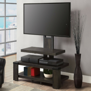 3-Shelf-TV-Stand-with-Floater-Mount-For-55-034-Media-Entertainment-Center-Dark-Pine