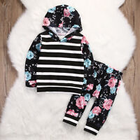 Kids Baby Girls Floral Stripe Tops Sweatshirt+Pants 2pcs Outfits Set Tracksuit