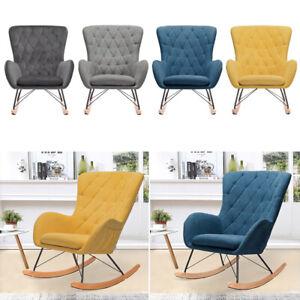 Velvet-Linen-PU-Rocking-Chair-Relaxing-Armchair-Ergonomic-Padded-Seat-Wing-Back