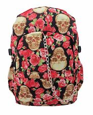 SKULL Vintage Rose Backpack Rucksack School College Goth Emo Rock Punk Skull Bag