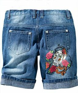Girl-Bermuda-Jeans-Shorts-Skull-Roses-116-122-134-140-146-158
