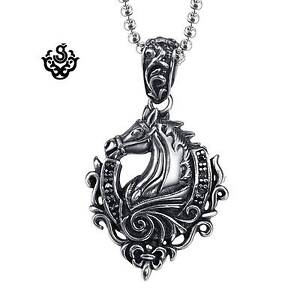 Silver-horse-pendant-fleur-de-lis-stainless-steel-black-crystal-necklace-24-034