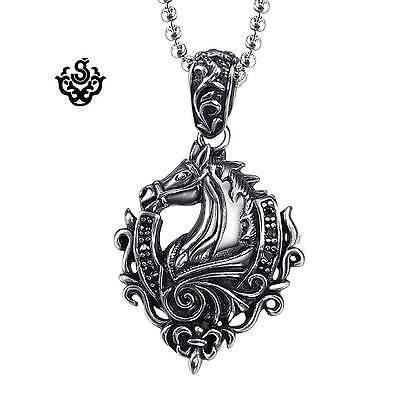 Silver horse pendant fleur-de-lis stainless steel solid necklace
