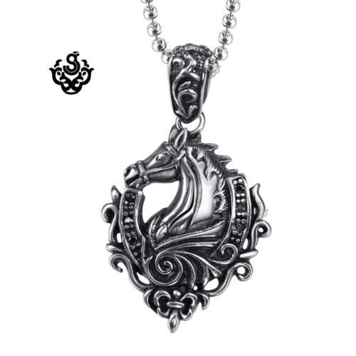 "Silver horse pendant fleur-de-lis stainless steel black crystal necklace 24/"""