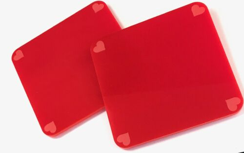 Acrylic Coasters with Hearts..Laser Engraved In Red