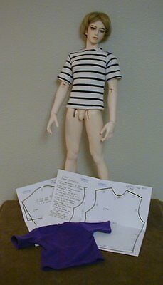 Long Or Short Sleeve T-Shirt Pattern 27BJD02 For 1/3 Scale Male BJD Dolls