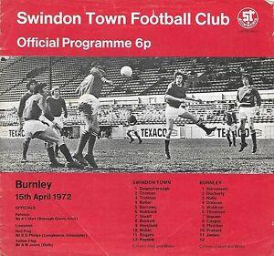 Football-Programme-gt-SWINDON-TOWN-v-BURNLEY-Apr-1972