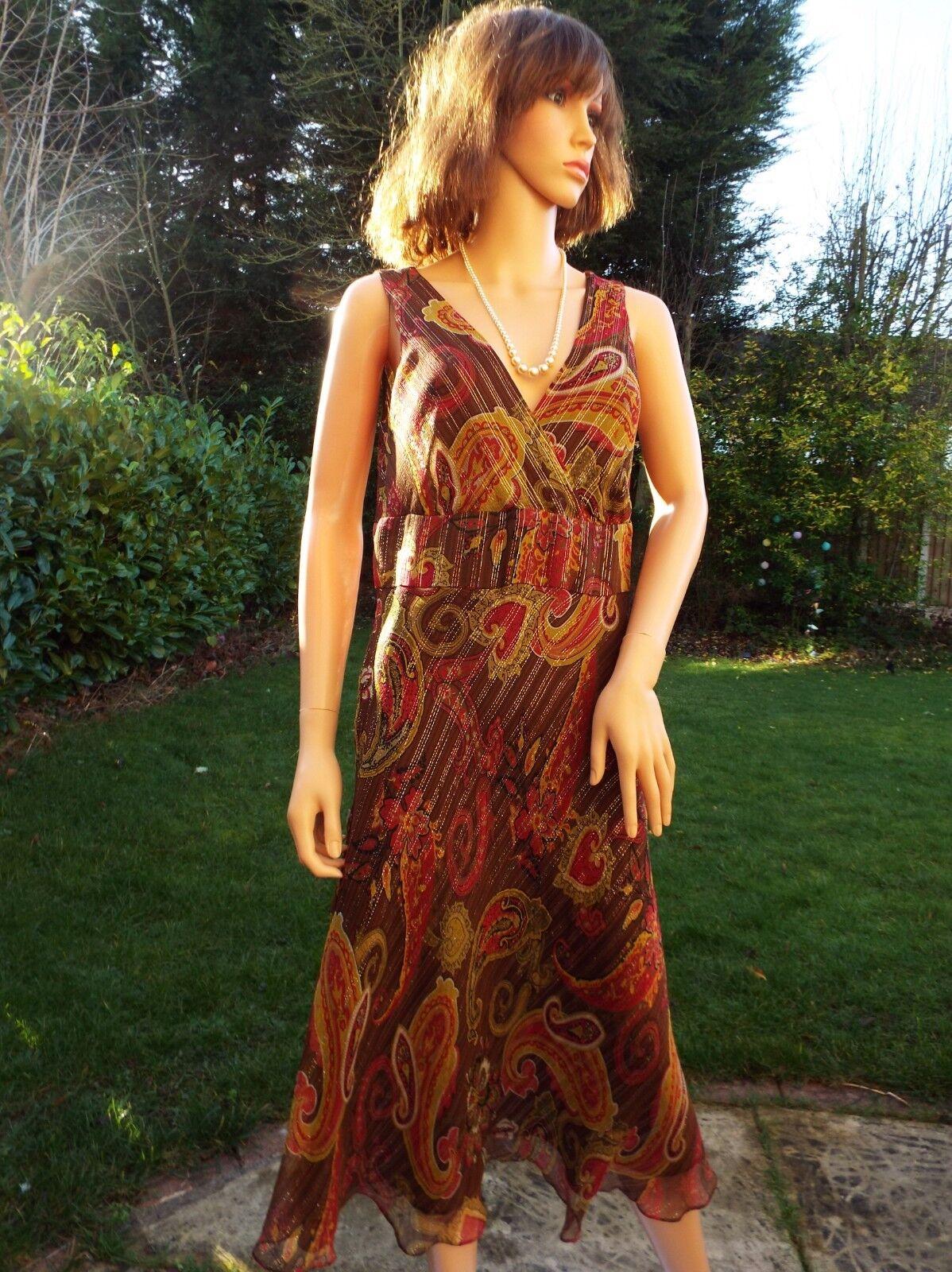 Planet pure silk brown metallic gold floral bias dress 30s style Art deco UK12