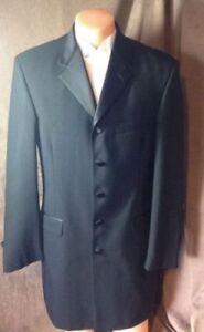 Nice-Long-Black-100-Wool-Men-039-s-5-Button-Pointed-Lapel-Claiborne-Tuxedo-Jacket
