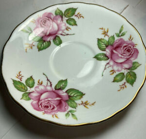 Vintage Moelba Made In England Bone China Saucer.Pink Roses  With Gold Trim
