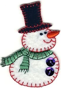 """2.5"""" Snowman Embroidery Winter Christmas Patch"""