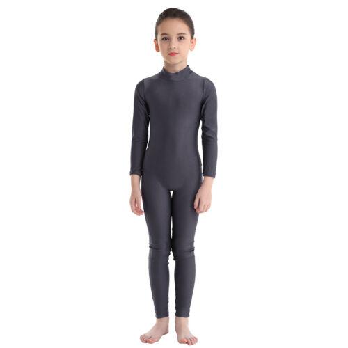 Kid Girl Ballet Gymnastics Dance Traning Leotards Mock Neck Full Body Jumpsuits