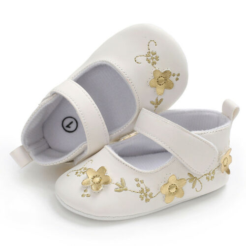 Flower Print Mary Jane Princess Baby Girls Soft Rubber Sole Antislip Prewealkers