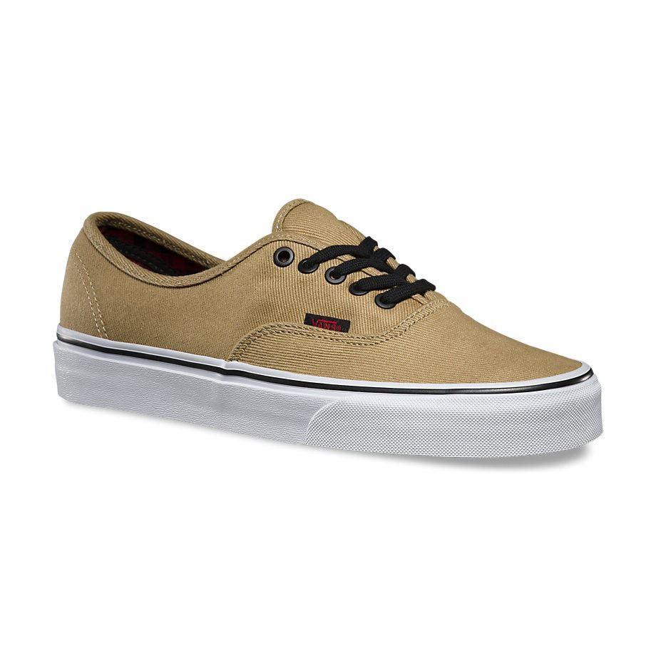 VANS Authentic (Twill & Skate Gingham) Cornstalk Black Men's Skate & Shoes 4fbc16