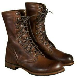 Retro Mens Leather Combat Lace Up Military Army Biker Ankle Mid Calf Boots Shoes
