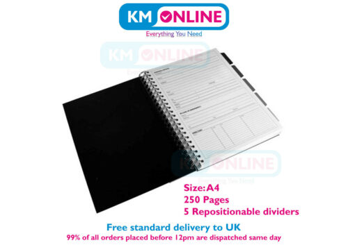 Pukka Pad A5//A4 Black Business Project Book Polyprop 250 Pages 80gsm Wirobound