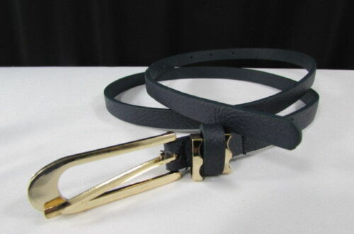 Women Faux Leather Narrow Blue Hip Waist Thin Fashion Belt Gold Metal Buckle S M
