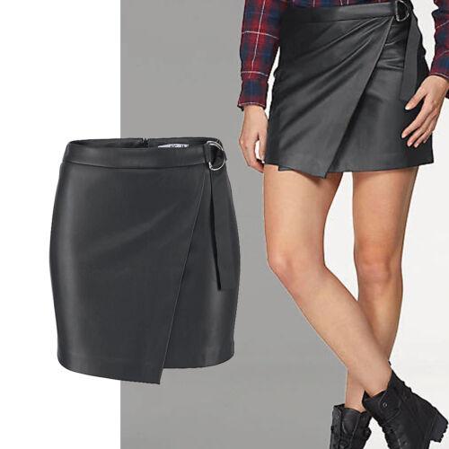 Beau Cuir Synthétique Mini Jupe Taille 40 L Cuir-Imitation Noir Stretch cache-cœur