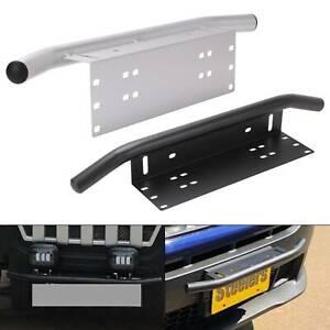 Universal-License-Plate-Mount-Bracket-Bull-Bar-Guard-Bumper-Holder-Light-Silver
