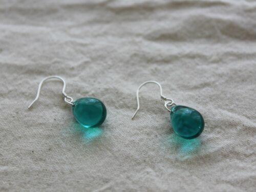 Peacock green Teardrop earearrings with sterling silver earwires Gift for her