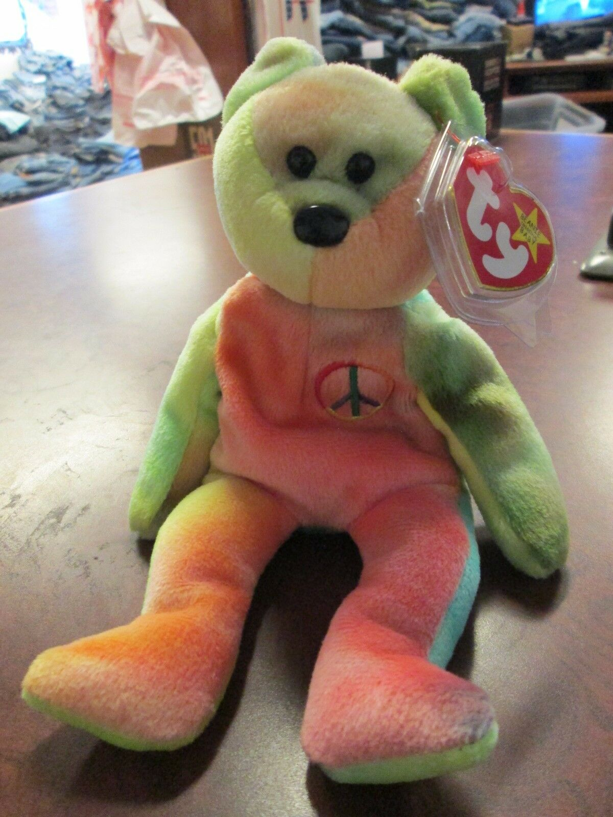 MWMT Peace Bear TY original beanie baby RETIRED double misprint hang tag rare 96