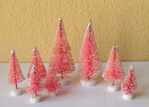 reputable site 154b3 800b7 Details about Set of 8 Mini Pink Sisal Bottle Brush CHRISTMAS TREES ~ Snow  Frost Village Putz