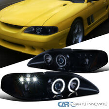 For Ford 94 98 Mustang Full Glossy Black Led Halo Projector Headlights Headlamps Fits Mustang