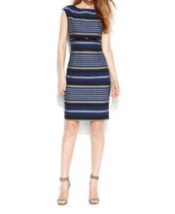 Calvin-Klien-Dress-Sz-22W-Twilight-Blue-Tin-Gray-Striped-Sheath-Business-Dinner
