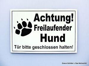 Möbel & Wohnen Begeistert Achtung Freilaufender Hund,gravur Schild,15 X 10 Cm,hundeschild,warnschild,neu