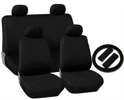 Black Cloth Seat Covers 4 Headrests Steering Wheel Cover 13pc CS10