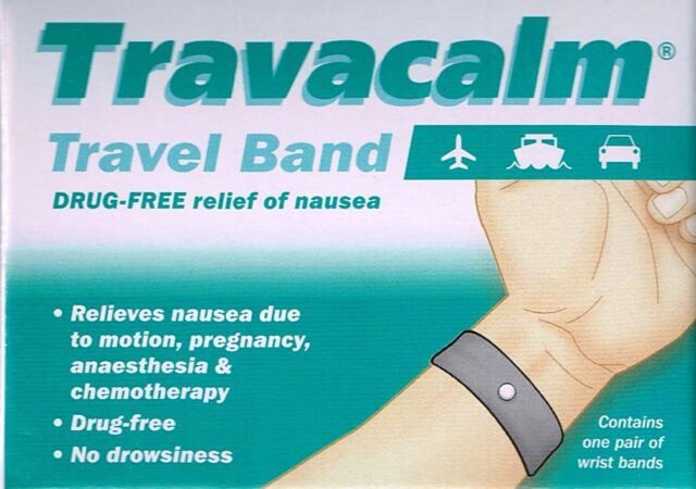 TRAVACALM TRAVEL BAND 1 PAIR DRUG FREE RELIEF OF NAUSEA IN TRAVEL, PREGNANCY,