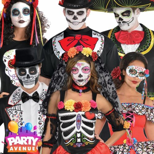 Adult Day Of The Dead Halloween Fancy Dress Costume Mens Womens Lot