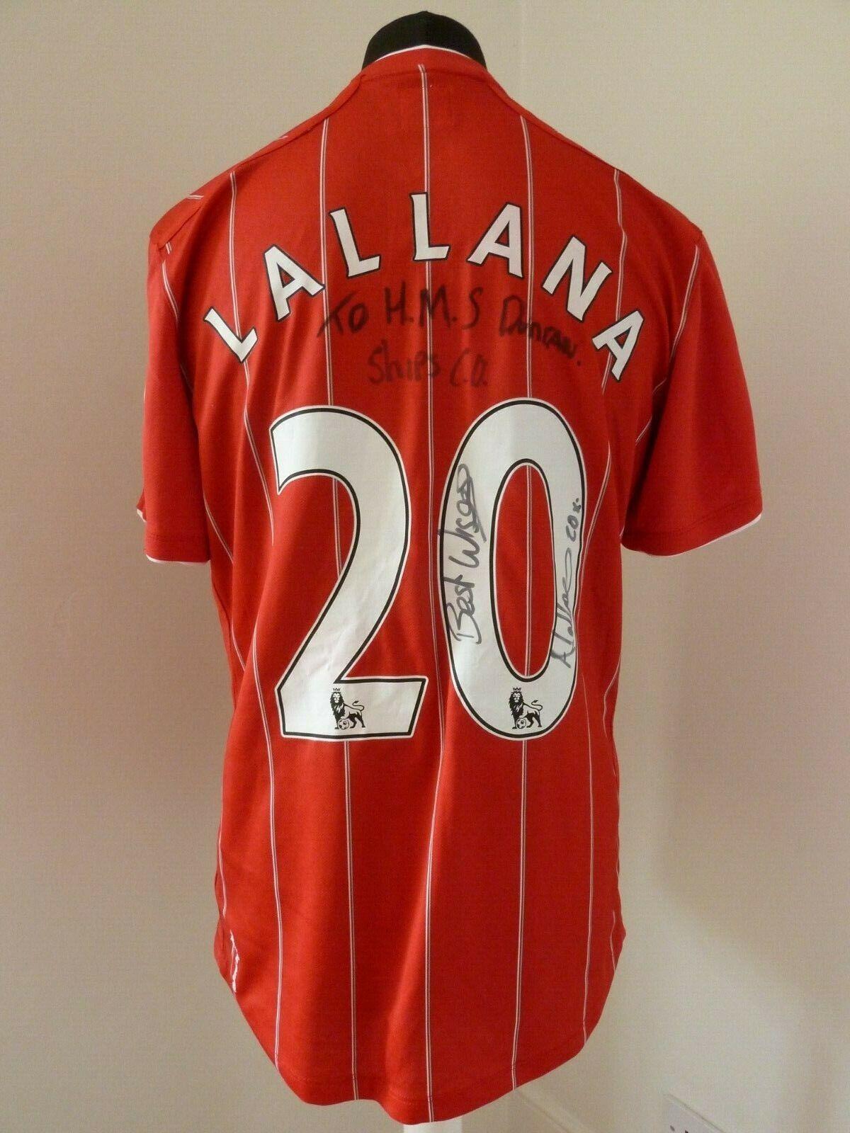Genuine Matchworn + firmado Adam Lallana 20 Southampton FC Camiseta De Fútbol 2012 13