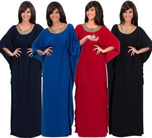 Image is loading Womens-Long-Batwing-Sleeve-Elegant-Empire-Waist-Kaftan- 2949e9a84
