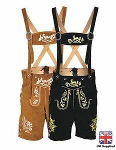Mens-Bavarian-LEDERHOSEN-Trachten-Real-Leather-With-Matching-Suspenders-Shorts