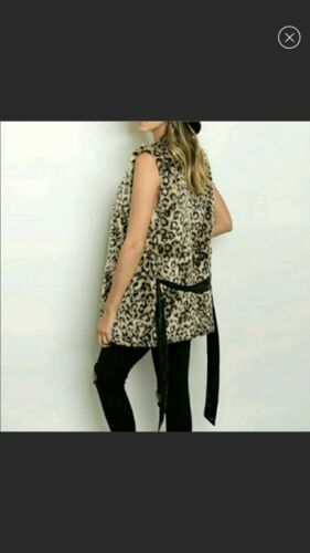 W Tags Size Lined Black Vest Print Animal M Nye Faux Fur Belt wxZSUI