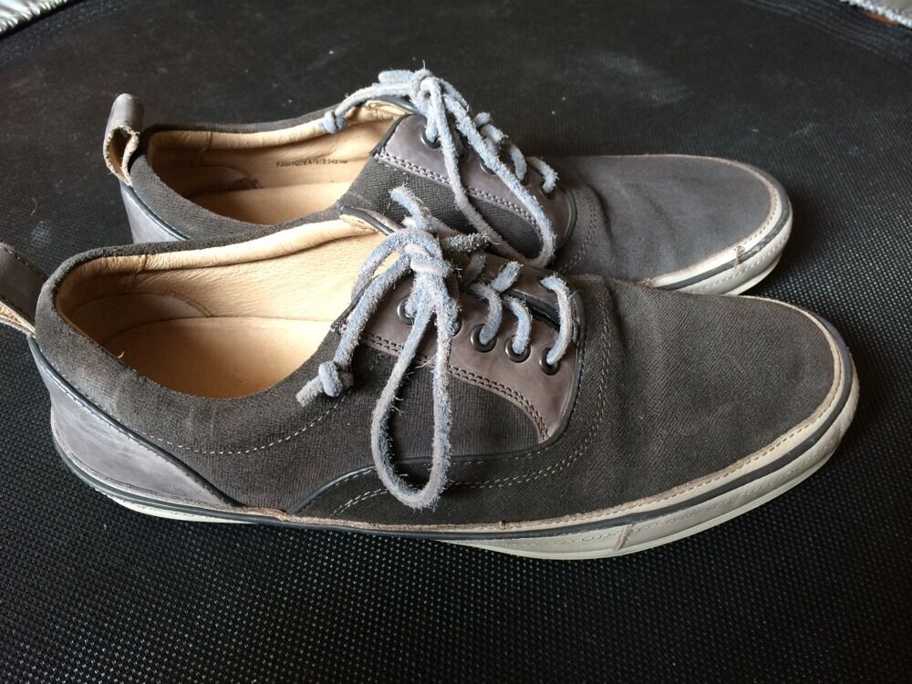 John Varvatos Uomo 8 Grey Canvas And Pelle Shoes