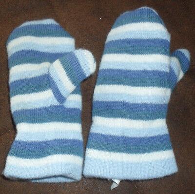 Kreativ FÄustlinge Handschuhe Blau-weiß Gestreift Länge Ca. 17 Cm Unisex