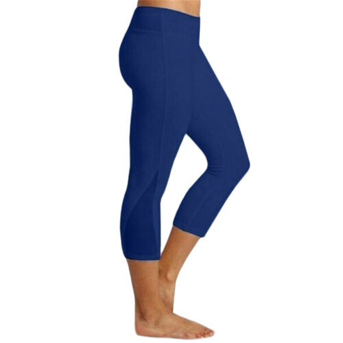 Damen 3//4 Kurze Hose Leggings Capri Fitness Yoga Gym Einfach Sport Trainingshose