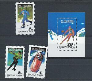 HUNGARY, 1988 OLYMPICS, SS & SET OF 3 PERF, MNH
