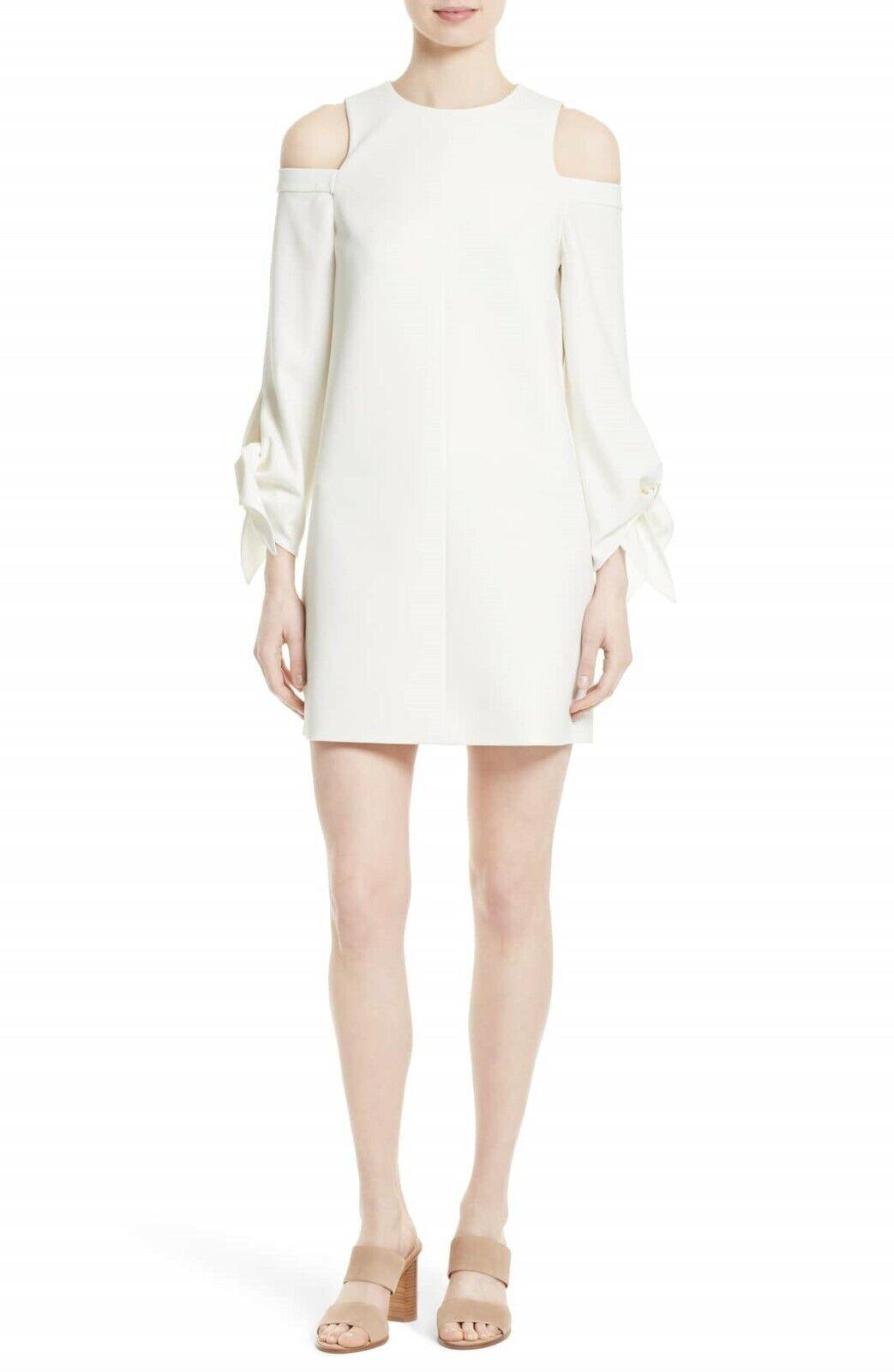 NEW Tibi Cold Shoulder Shift Dress in Ivory - Größe 6