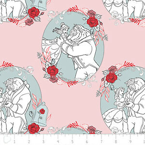 Disney-Beauty-amp-the-Beast-Belle-Love-Lite-Pink-100-Cotton-fabric-by-the-yard
