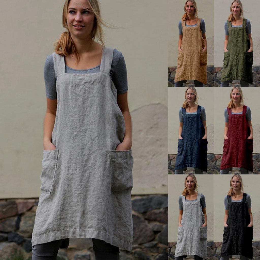 Women's Casual Cotton Linen Pinafore Square Loose Cross Apron Knee-Length Dress