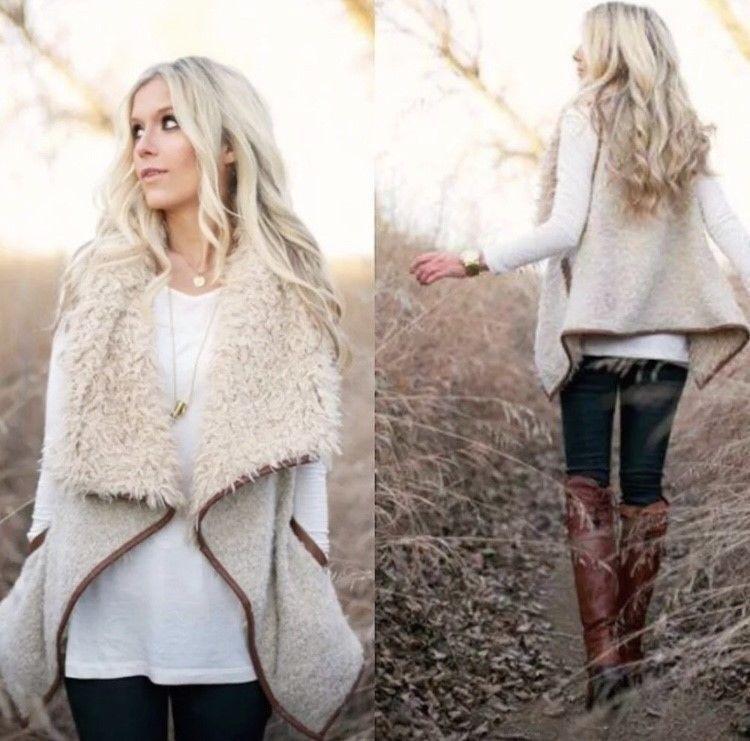 Beige Shearling Faux Fur Sherpa Oversized Sleeveless Vest Casual Small S